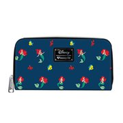 Little Mermaid Ariel Flounder Sebastian Print Zip-Around Wallet