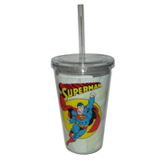 Superman Comic Book Art 16 oz. Travel Cup with Straw