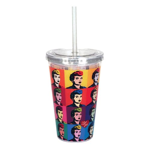 I Love Lucy Warhol Art 16 oz. Travel Cup with Straw