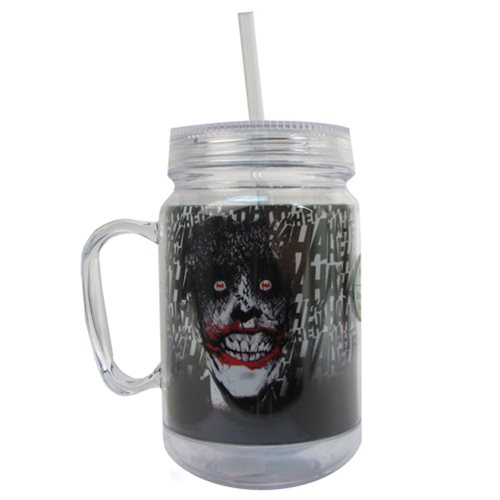 Batman Joker 16 oz. Mason-Style Plastic Jar with Lid and Handle