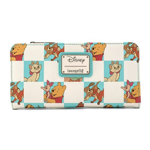 Disney Multi-Character Checker Mint Flap Wallet