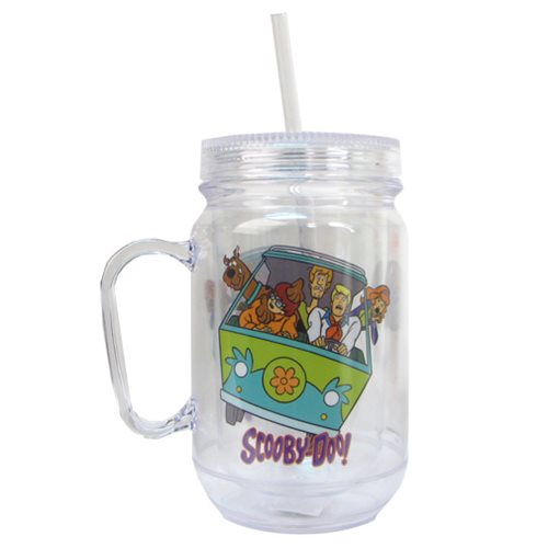 Scooby-Doo Group Clear Mason-Style Plastic Jar with Lid and Handle