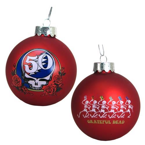 Grateful Dead Christmas Ornament.Grateful Dead 50th Anniversary Red 3 1 4 Inch Ball Ornament