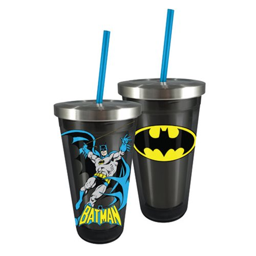 Batman 16 oz. Stainless Steel Travel Cup with Straw