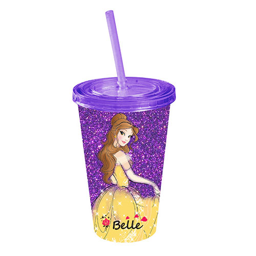 Beauty and the Beast Belle Glitter Plastic Travel Cup