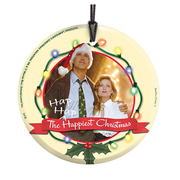 National Lampoons Christmas Vacation Clark and Ellen StarFire Prints Hanging Glass Print