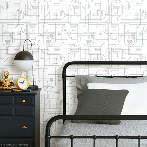 Star Wars R2-D2 Geometric White Peel and Stick Wallpaper