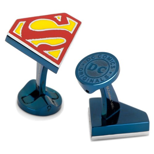 Superman Shield Logo Blue Stainless Steel Cufflinks
