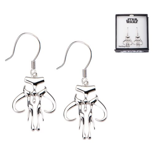 Star Wars Mandalorian Symbol Cut Out Dangle Sterling Silver Earrings
