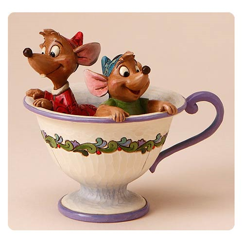 Disney Traditions Cinderella Jaq and Gus Tea for Two Statue