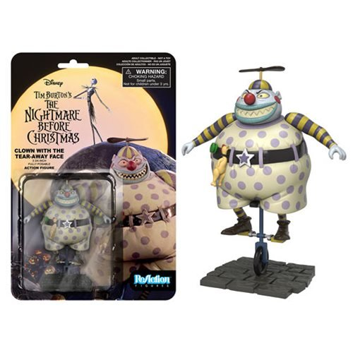 The Nightmare Before Christmas Clown Tear Away Face ReAction 3 3/4-Inch Retro Action Figure
