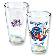 Nickelodeon Ren and Stimpy Bump Butts Pint Glass