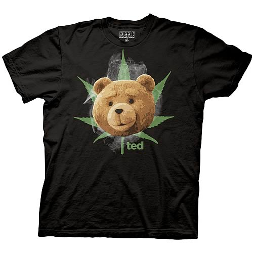 Ted Face with Pot Leaf and Smoke Black T-Shirt
