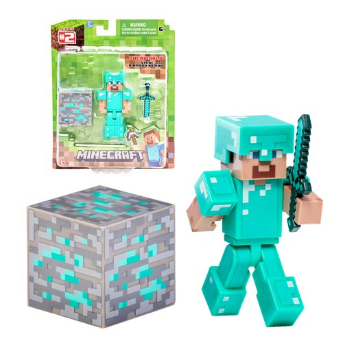 minecraft steve with diamond armor and accessory 3 inch action