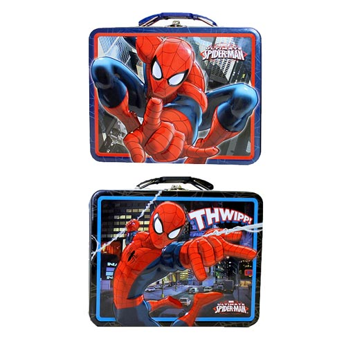 Spider-Man Large Embossed Tin Tote Lunch Box Set