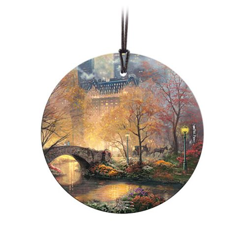 Thomas Kinkade Central Park in the Fall StarFire Prints Hanging Glass Ornament