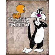 Looney Tunes Sylvester and Tweety Retro Tin Sign