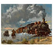 Indiana Jones Chasing the Iron Horse by David Tutwiler Paper Giclee Art Print