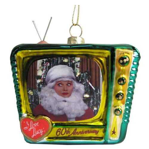 I Love Lucy Santa Lucy on TV 3 1/2-Inch Glass Ornament