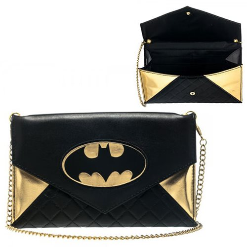 Batman Gold Logo Envelope Wallet Clutch with Chain