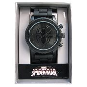 Spider-Man Black Symbol Blackout Rubber Strap Watch