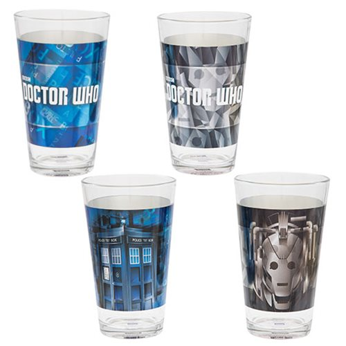 Doctor Who 16 oz. Laser Decal Glass 2-Pack Set