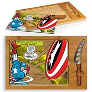 Captain America Icon Glass Top Serving Tray and Knife Set