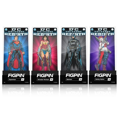 DC Comics Rebirth FiGPiN Enamel Pins 6-Pack Display Case