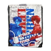 Attack on Titan Levi and Erin White Drawstring Bag