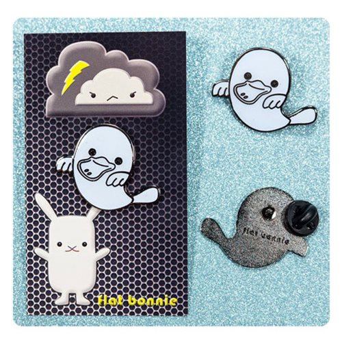 Flat Bonnie Platypus Ghost Glow-in-the-Dark Enamel Pin