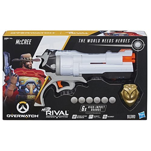 Overwatch McCree Nerf Rival Blaster with Die-Cast Metal Badge