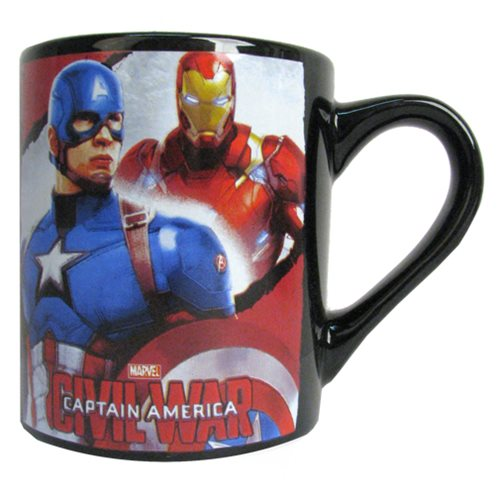 Captain America: Civil War Captain America Forefront Iron Man Background 14 oz. Ceramic Mug