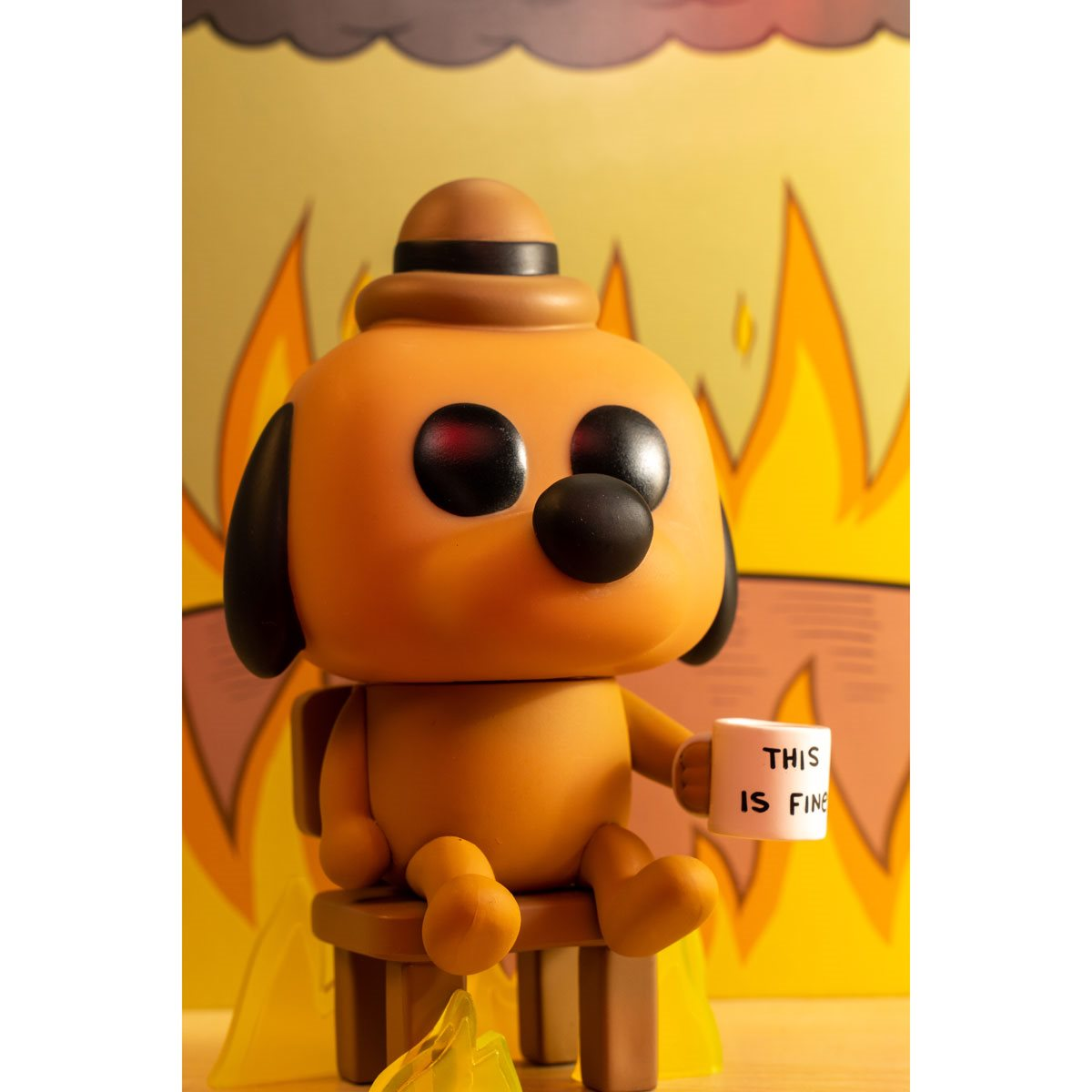 This Is Fine Dog Stuffed Animal, This Is Fine Dog Pop Vinyl Figure Entertainment Earth Exclusive