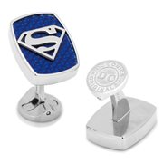 Superman Shield Logo Carbon Fiber Stainless Steel Cufflinks