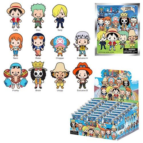 One Piece 3-D Figural Key Chain Random 6-Pack