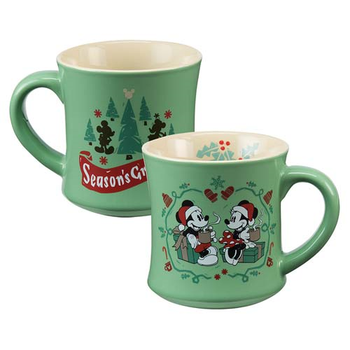 Mickey Mouse Minnie Mouse Holiday 12 oz. Fluted Ceramic Mug