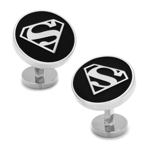 Superman Shield Recessed Black Cufflinks