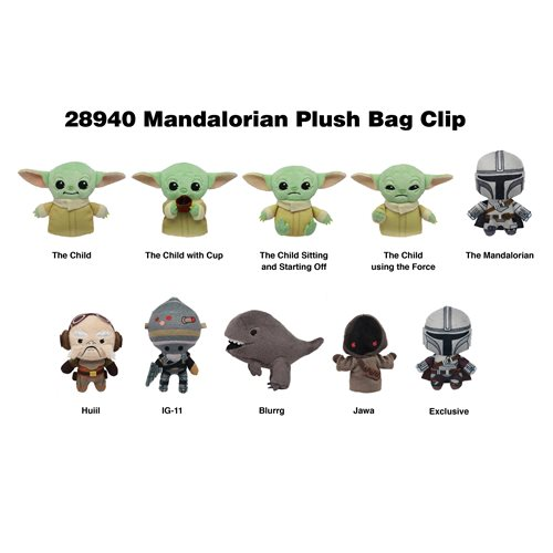 The Mandalorian Figural Plush Bag Clip Random 6-Pack