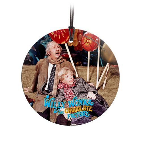 Willy Wonka and the Chocolate Factory Charlie and Grandpa Joe StarFire Prints Hanging Glass Ornament