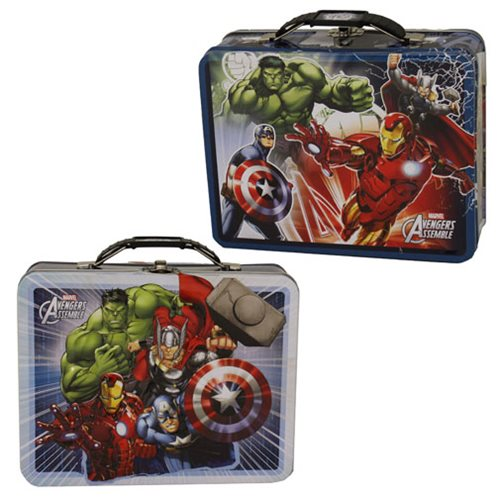 Marvel Avengers Large Carry All Embossed Tin Lunch Box Set
