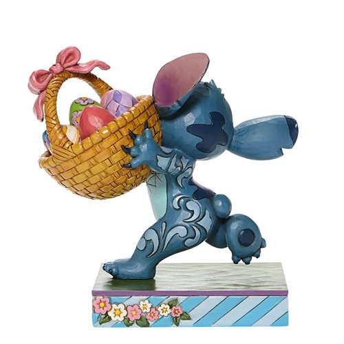 Disney Traditions Stitch Running with Easter Basket Bizarre Bunny by Jim Shore Statue