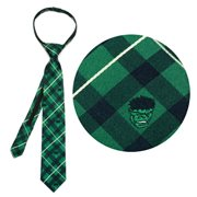 Hulk Green Plaid Boys Zipper Silk Tie