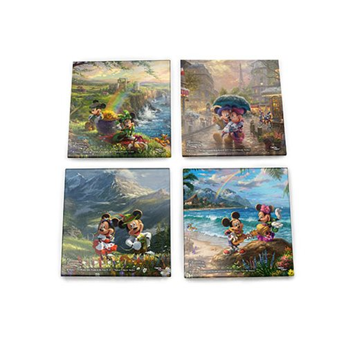 Disney Mickey and Minnie Tourists Thomas Kinkade StarFire Prints Glass Coaster Set
