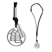 Dragon Ball Z Master Roshi's Silver Kanji with Leather Necklace