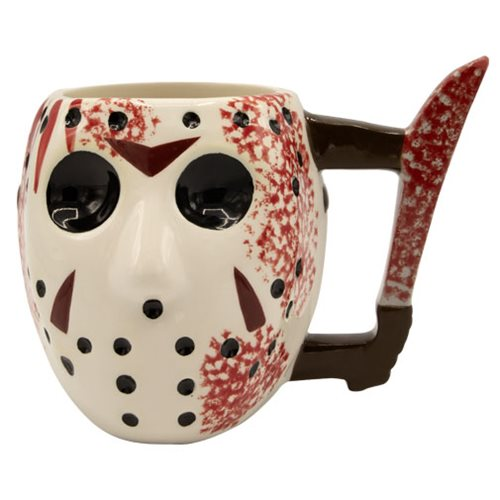 Friday the 13th Jason Voorhees Mask with Knife Ceramic 3D Sculpted Mug