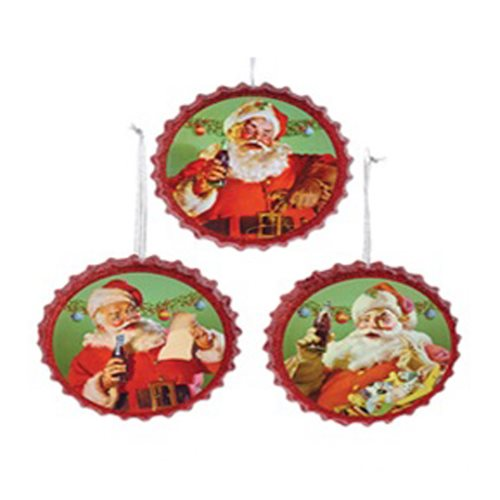 Coca-Cola Santa Bottle Cap Ornament Set