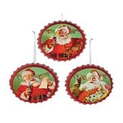 Coca-Cola Santa Bottle Cap Ornament Set of Santa