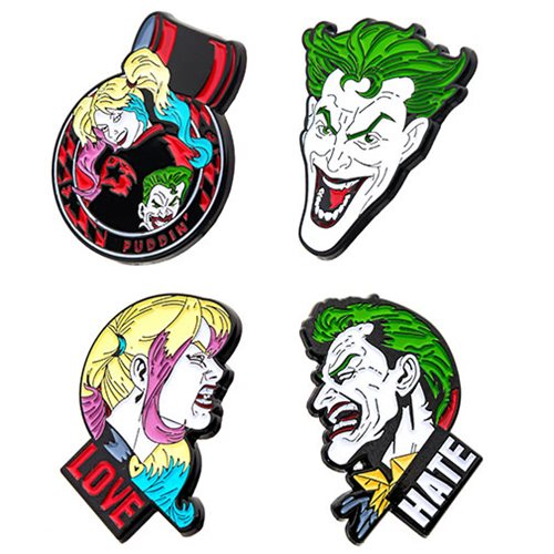 Joker and Harley Quinn 4-Pack Enamel Pin Set