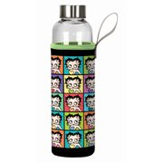 Betty Boop Squares 20 oz. Glass Water Bottle with Neoprene Sleeve