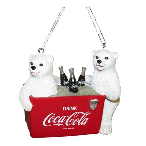 Coca-Cola Cubs and Cooler 2 3/4-Inch Resin Ornament